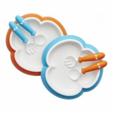 2 Plates, 2 Spoons And 2 Forks Babybjorn: Orange And Turquoise
