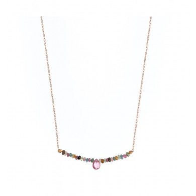 Choker Silver Rose Pedreria Ip Colors 925 silver necklace with tourmalines center line fall.