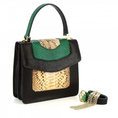 hand bag fantasy woman in gray python skin and green NNN094 GREEN FANTASY PYTHON CALF + Black