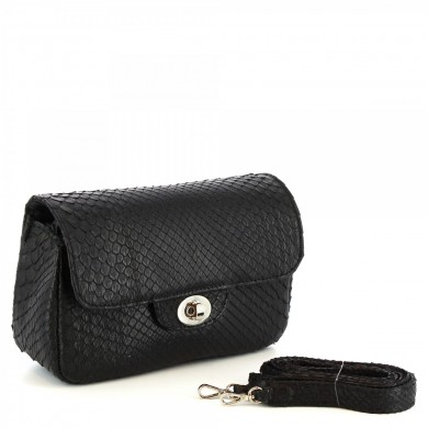 clutch bag with shoulder strap women's handmade in black python skin PYTHON BLACK BAG Black