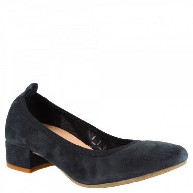 Dancers low heel rounded tip from hand-made woman in blue suede 2381 / JESSICA BLUE SUEDE