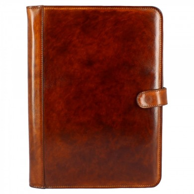 Folder Arezzo unisex model for documents in calf leather with brown locking clip AREZZO BROWN TAMPONATO Brown