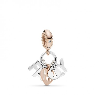 Pandora Silver Charm woman and rose