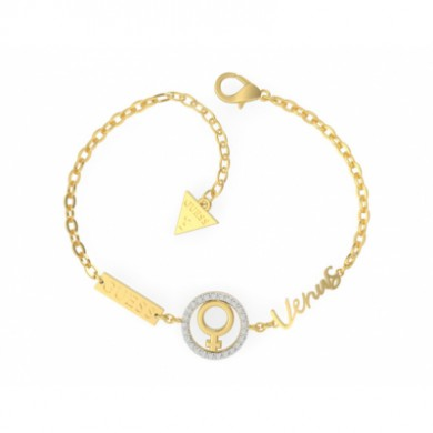 This bracelet GUESS UBS29025-S is geared for women. It is steel-plated yellow gold and has zircons in white. Seven Planets collection. Size 19 cm.